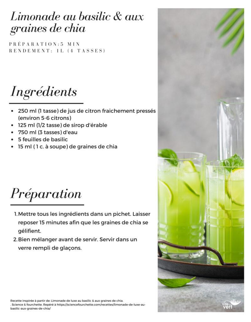 limonade basilic et graines de chia