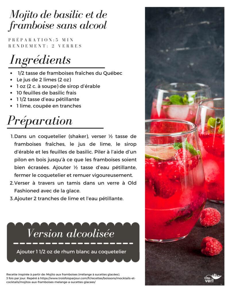 recette jardin : mojito basilic framboise