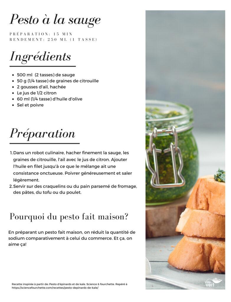 recette jardin : pesto sauge