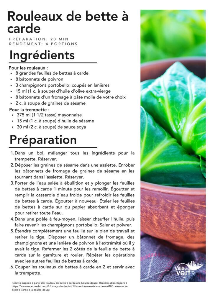 recette jardin : rouleau bette à carde