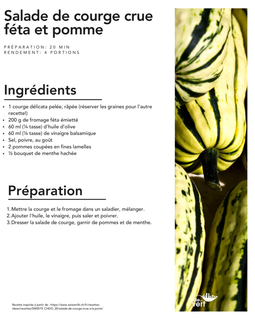 salade jardin : courge crue feta pomme