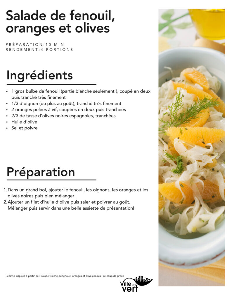 recette jardin : Salade de fenouil, oranges et olives