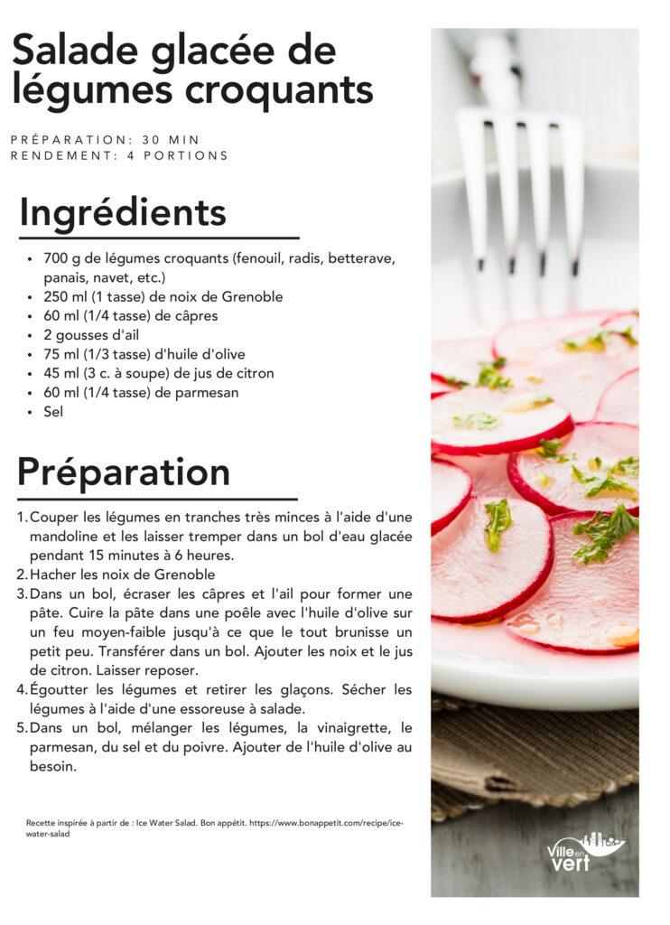 recettes jardin : Salade de légumes croquants