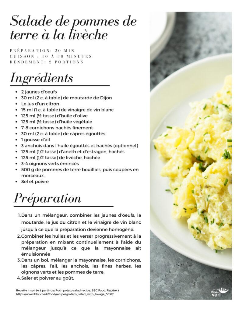 recette jardin : Salade de pommes de terre à la livèche