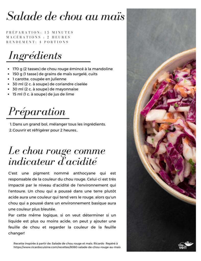recette jardin salade chou maïs
